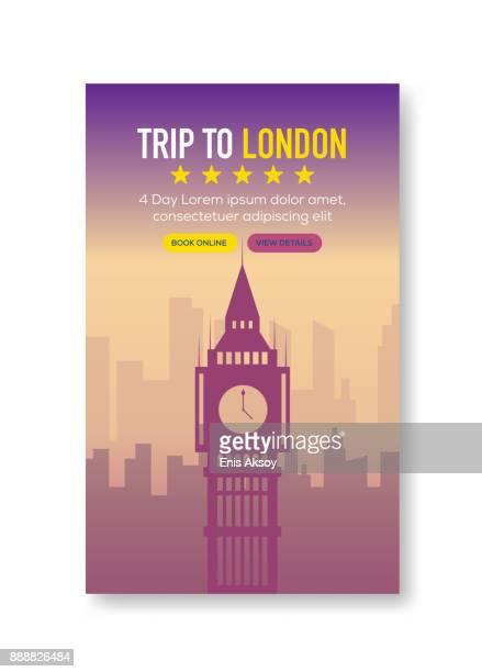 ilustrações de stock, clip art, desenhos animados e ícones de trip to london banner - megalith
