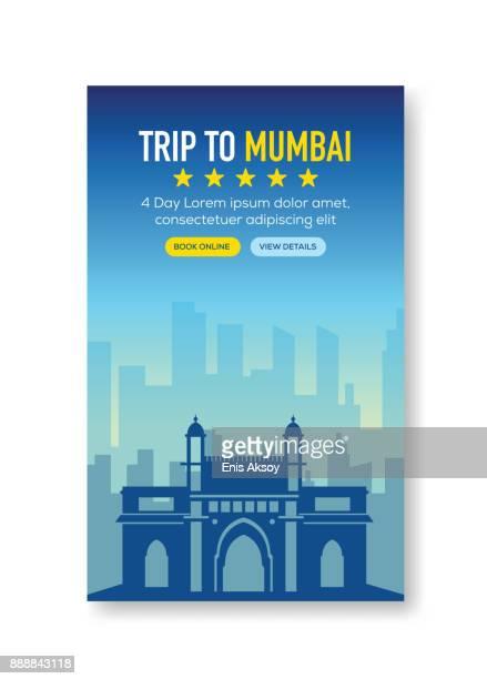 trip to mumbai banner - mumbai stock illustrations