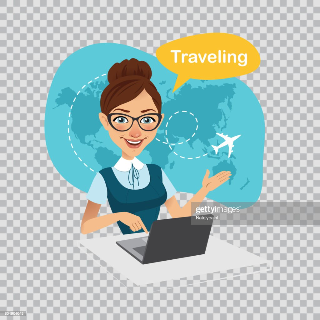 Trip to World.Travel to World.Travel agency banner.Travel agent works on laptop. Illustration on transparent background.