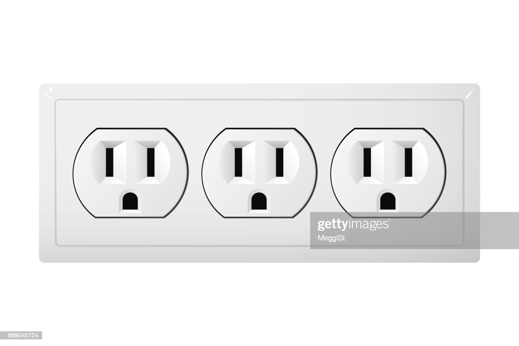 Triple electrical socket Type B. Receptacle from Canada.