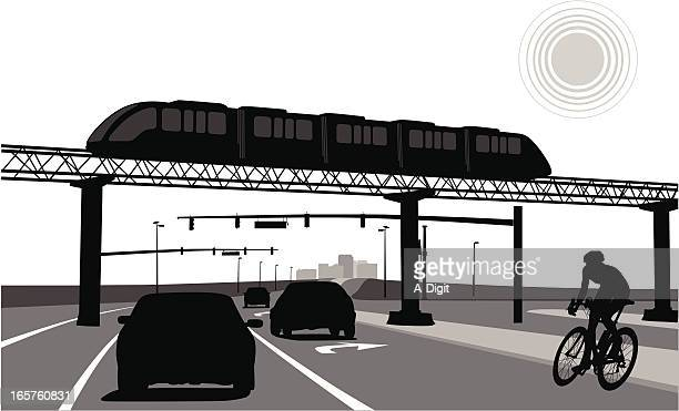 triple transport vector silhouette - overpass road stock illustrations
