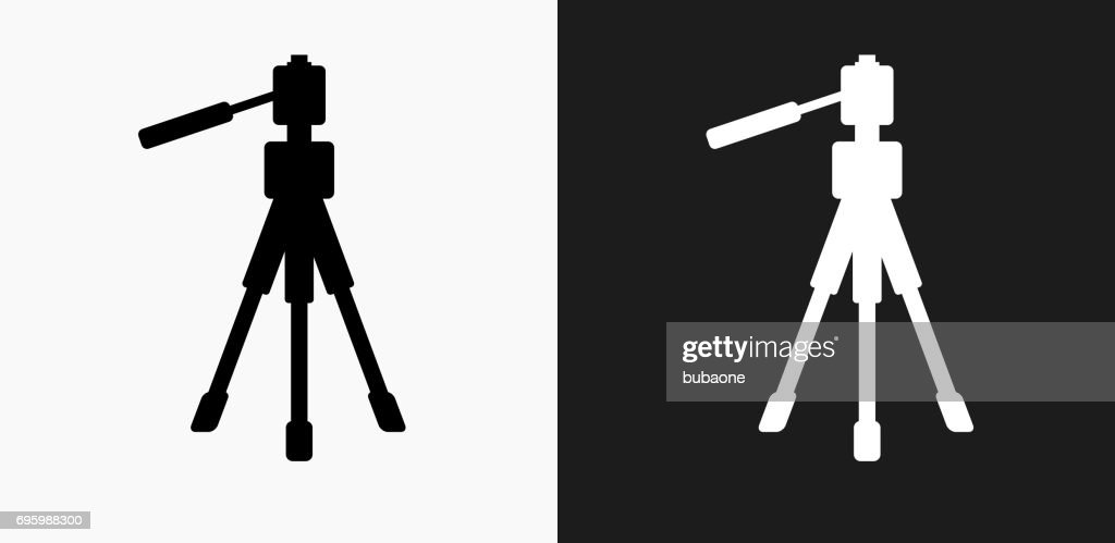 Tripod Icon on Black and White Vector Backgrounds : stock illustration