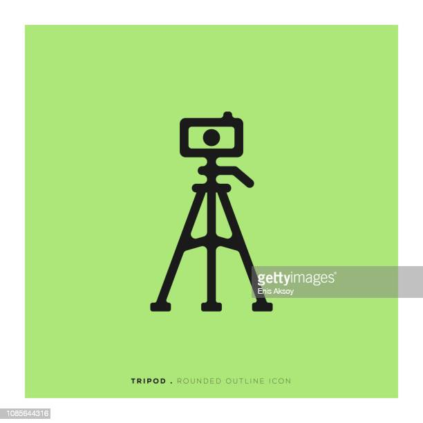 tripod rounded line icon - camera stand stock illustrations, clip art, cartoons, & icons