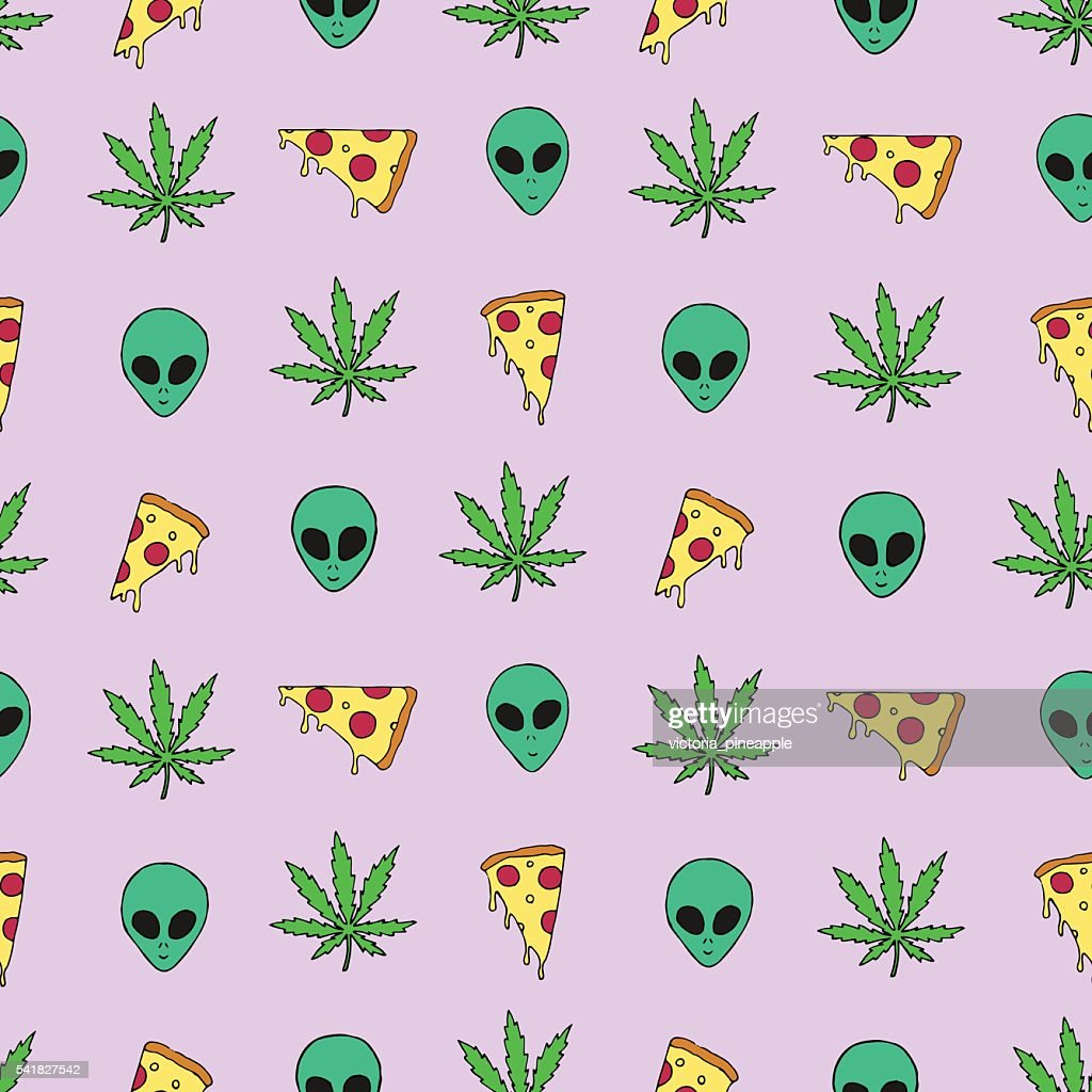Trippy vector pattern with marijuana leafs, pizza slices and aliens