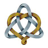 Triquetra with heart of golden and silver mobius strips. Harmonic love symbol. Vector illustration.