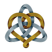 Triquetra with heart of golden and silver mobius strips. Unity in love symbol. Vector illustration.