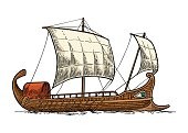 Trireme floating on the sea waves. intage vector engraving illustration