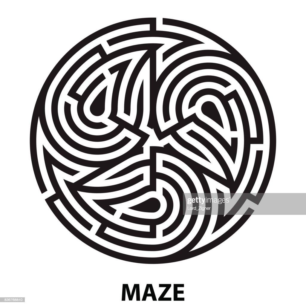 Triskelion symbol tattoo maze. Geometric circular labyrinth. ornament mandala print. Vector Illustration