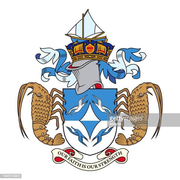 ilustraciones, imágenes clip art, dibujos animados e iconos de stock de escudo de armas de tristán da cunha - isla tristán de acuña