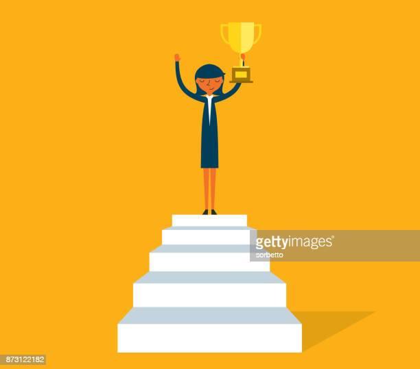 triumphale geschäftsfrau auf treppe - geschäftsfrau stock-grafiken, -clipart, -cartoons und -symbole