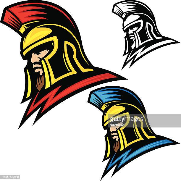 trojan head helmet - gladiator stock illustrations, clip art, cartoons, & icons