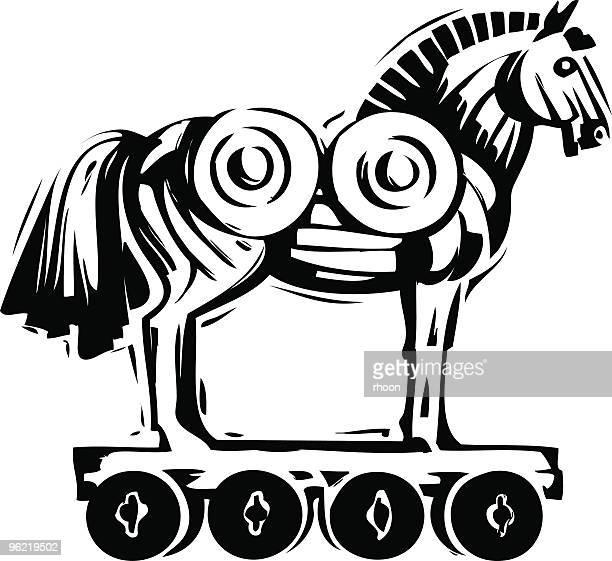 illustrations, cliparts, dessins animés et icônes de le cheval de troie - ulysse