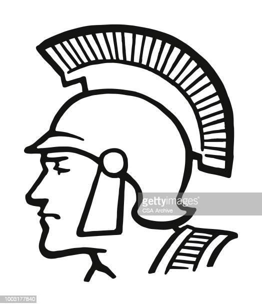 trojan soldier - army helmet stock illustrations, clip art, cartoons, & icons
