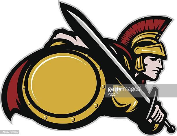 trojan - gladiator stock illustrations