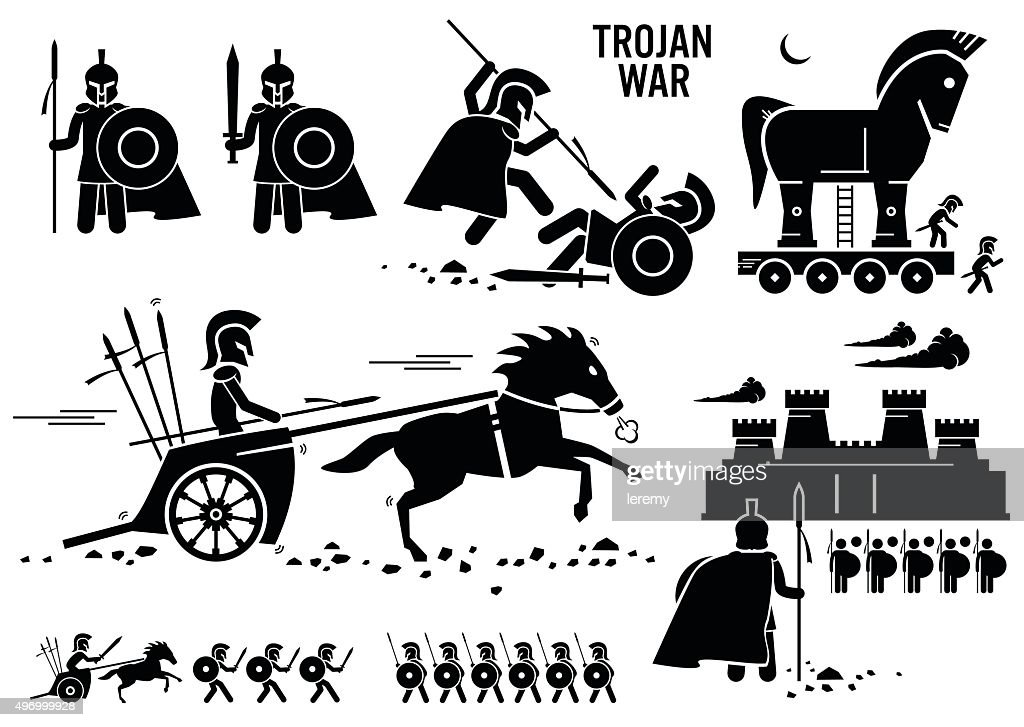 Trojan War Horse Greek Rome Warrior Troy Sparta Spartan Cliparts