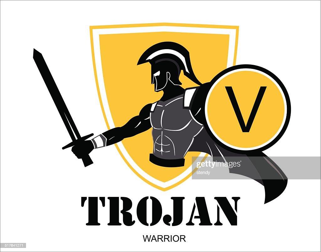 trojan warrior over the yellow shield