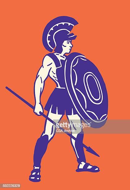trojan warrior - roman stock illustrations, clip art, cartoons, & icons