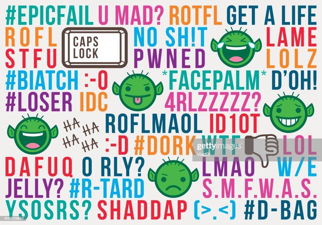 Troll internet social media acronyms text message abbreviations slang : stock illustration