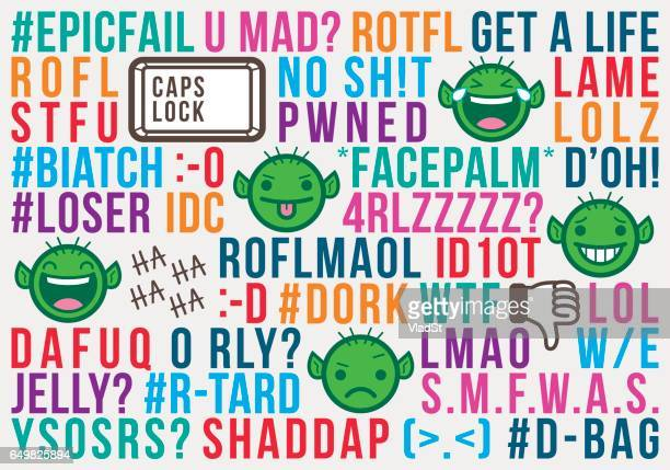 troll internet social media acronyms text message abbreviations slang - naughty america stock illustrations