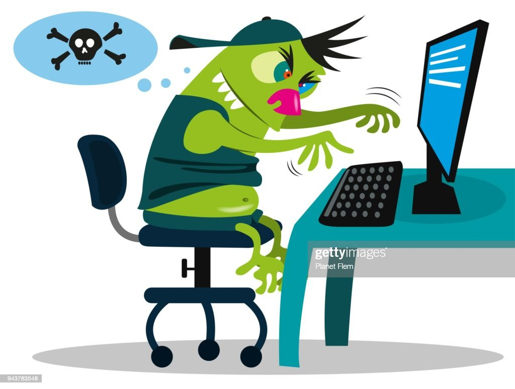 Troll writing fake comments : stock illustration