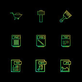 Trolley , hammer , brush , png , psd file , txt file , mp3 , audio , jpg , image , 9 eps icons set vector