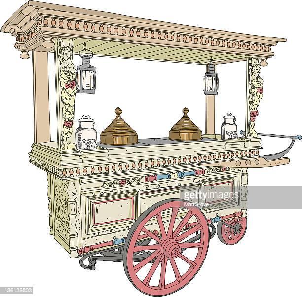 ilustraciones, imágenes clip art, dibujos animados e iconos de stock de el tranvía - puesto de mercado