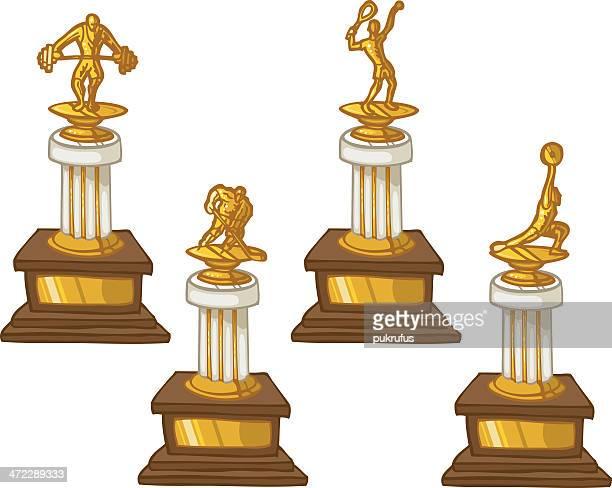 trophies - discus stock illustrations, clip art, cartoons, & icons