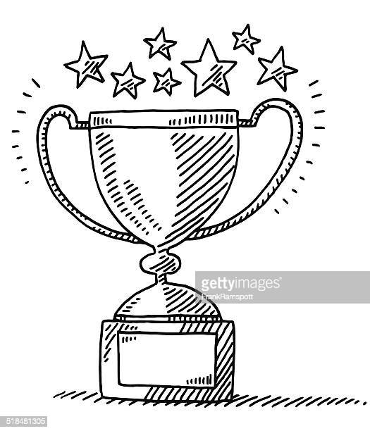 stockillustraties, clipart, cartoons en iconen met trophy achievement stars drawing - award