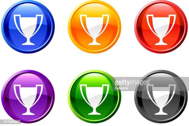 ilustrações, clipart, desenhos animados e ícones de troféu de atletismo botão vetorizadas royalty free - trophy