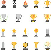 Trophy Awards vector solid icons set
