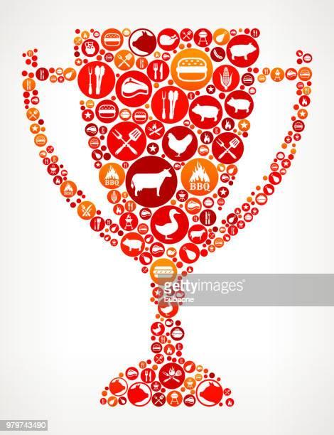 ilustrações, clipart, desenhos animados e ícones de troféu de ícone festa churrasco fundo - trophy