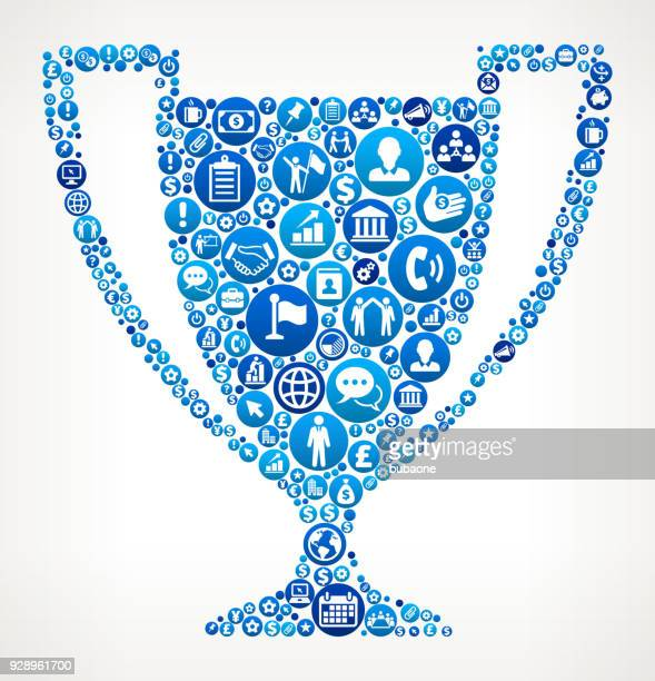 Trophy Blue Icon Pattern Background Vector Art