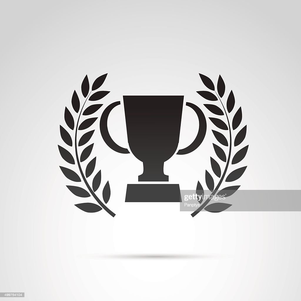Trophy cup and laurel icon isolated on white background.