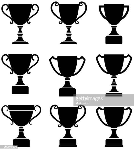 trophy cup vector - trophy stock illustrations
