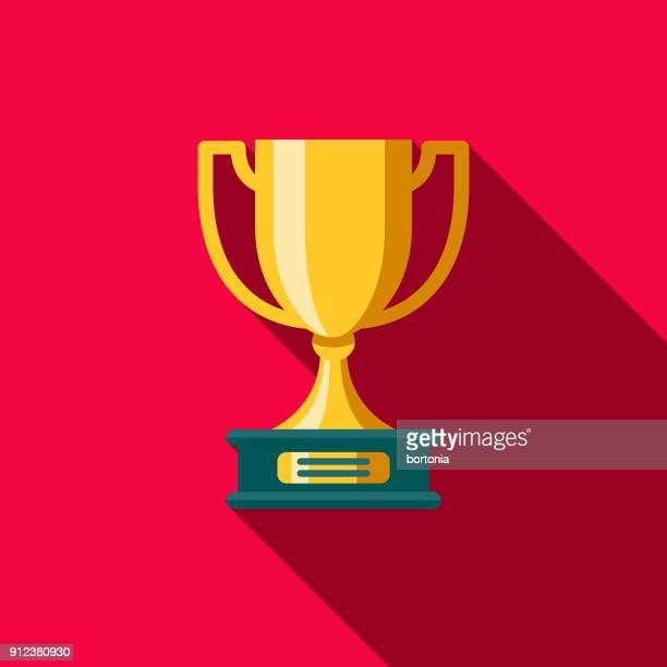 ilustraciones, imágenes clip art, dibujos animados e iconos de stock de trofeo diseño plano fitness y ejercicio icono - premio