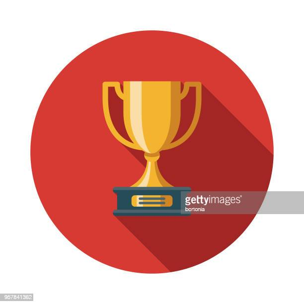 trophy flat design sports icon with side shadow - award plaque stock illustrations