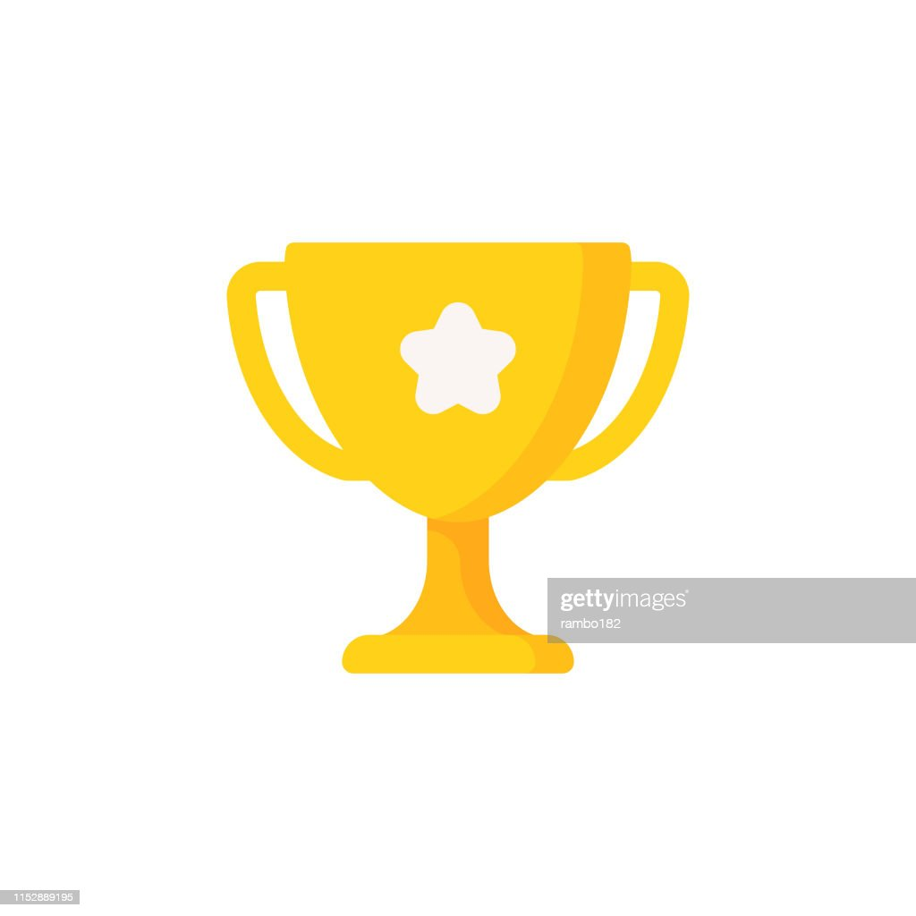 Trophy Flat Icon. Pixel Perfect. For Mobile and Web. : stock illustration