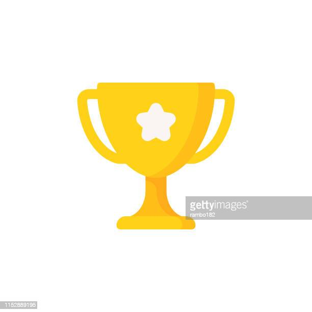 stockillustraties, clipart, cartoons en iconen met trofee platte icoon. pixel perfect. voor mobiel en web. - award