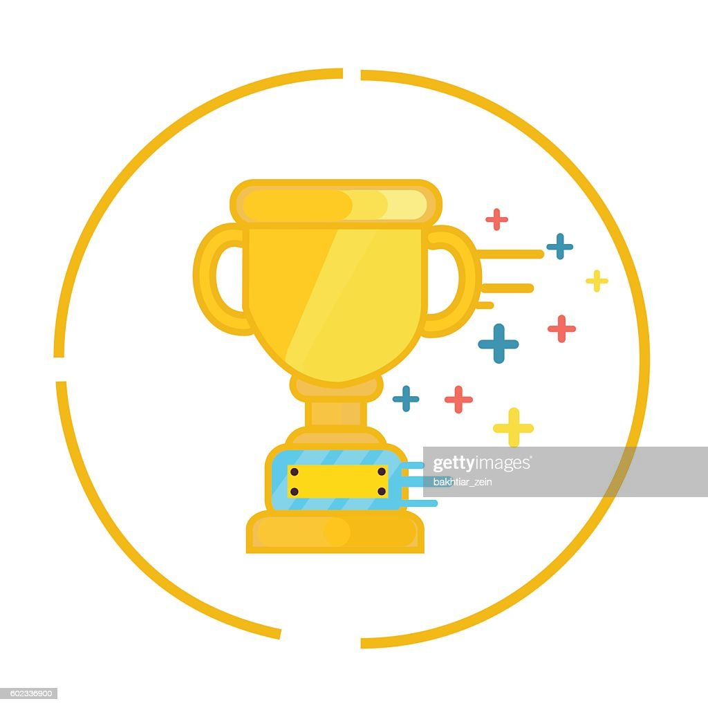 Trophy Gold Cup Winner Symbol Icon Champion Flat Vector Art Getty