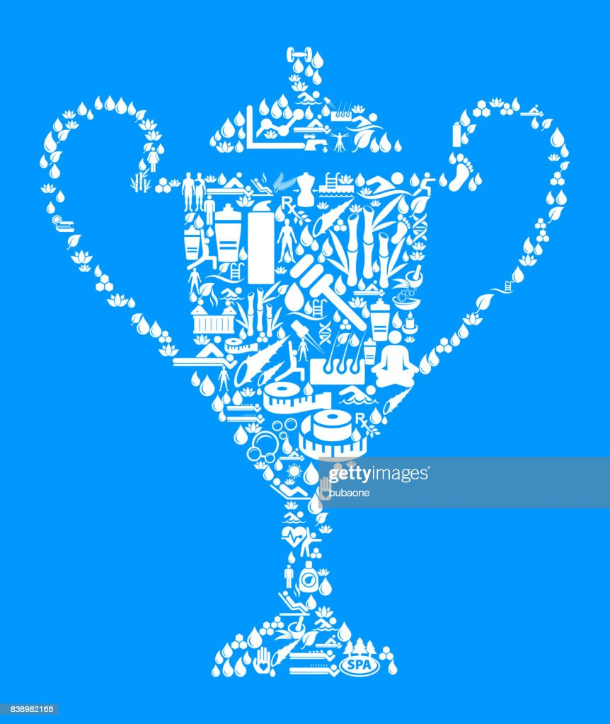 Trophy Health And Wellness Icon Set Blue Background Vector Art
