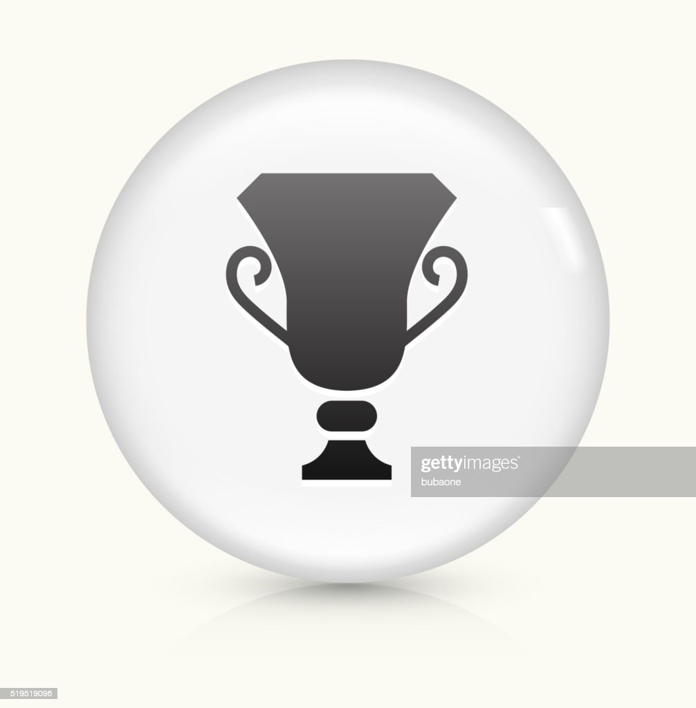 Trophy icon on white round vector button
