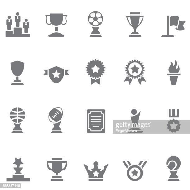 ilustrações, clipart, desenhos animados e ícones de conjunto de ícones do troféu - trophy