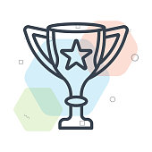 Trophy icon vector sign and symbol isolated on white background, Trophy logo concept