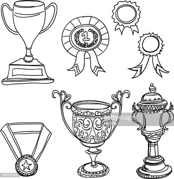 trophy in black and white - trophy stock illustrations
