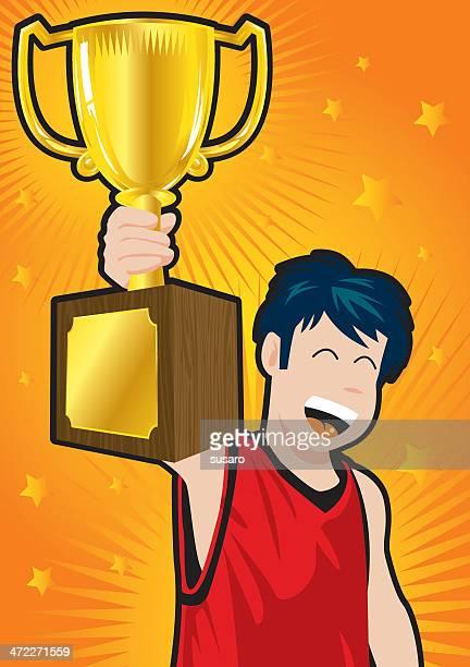trophy kid - glühend stock illustrations