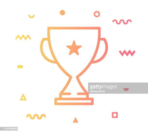 trophy line style icon design - trophy stock illustrations