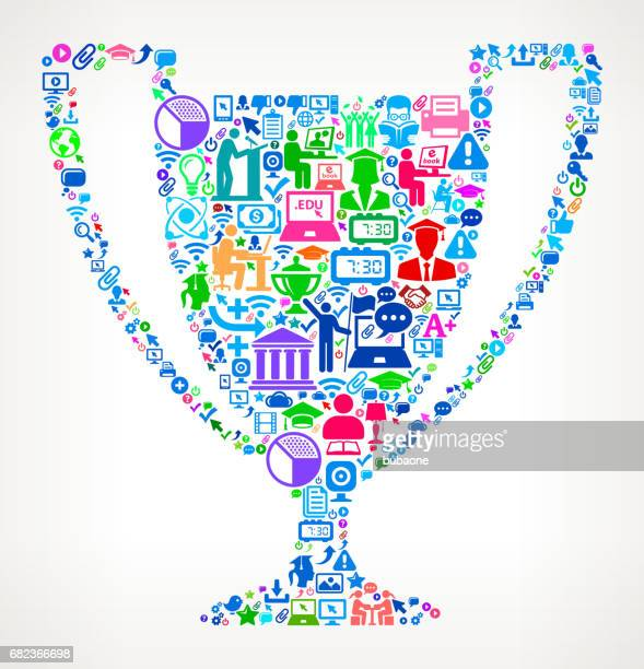 Trophy Modern Education and College Degree Icon Pattern