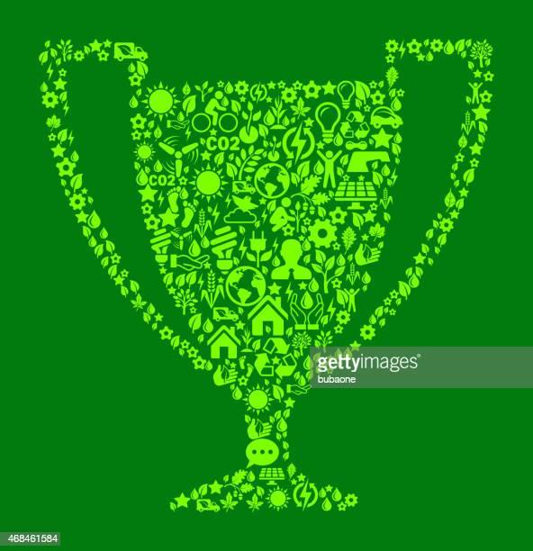 ilustrações, clipart, desenhos animados e ícones de troféu em verde a conservação do ambiente e a natureza ícone padrão - trophy