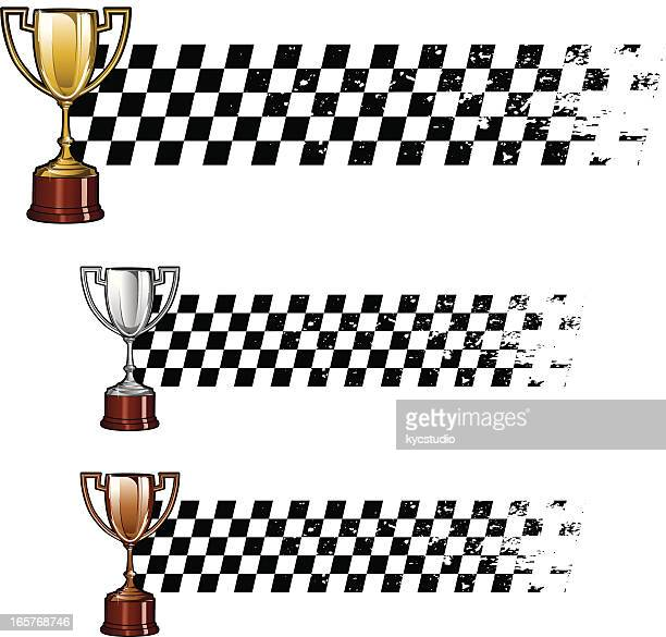 trophy racing banners - checkered flag stock illustrations