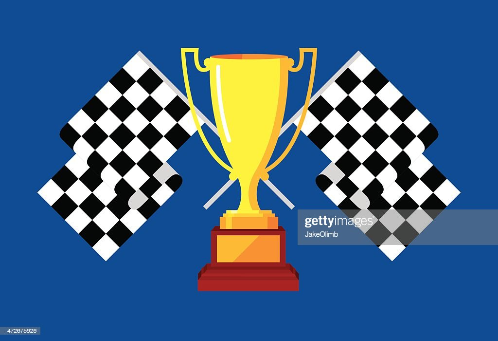 Trophy with Checkered Race Flags : stock illustration